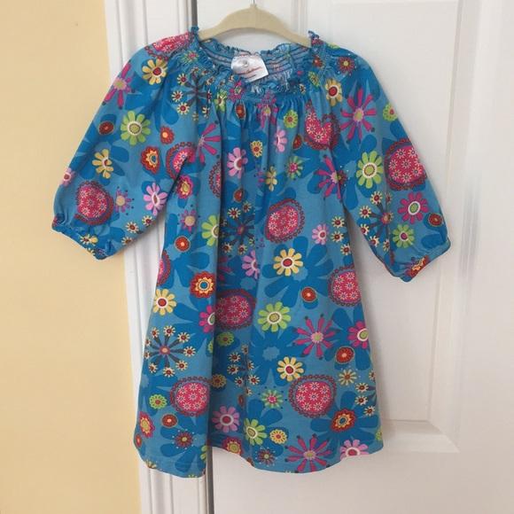 ab3f74fd23 Hanna Andersson Dresses | Blue Floral Dress Girls 100 4t | Poshmark